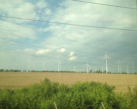 Campos com usinas de energia eólica