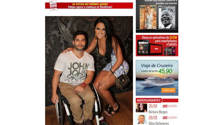 """Reprodução de página na internet da revista """"Quem"""", que mostra o casal"""