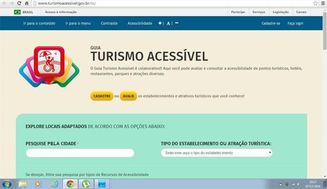 Imagem da página inicial do guia do Ministério do Turismo..