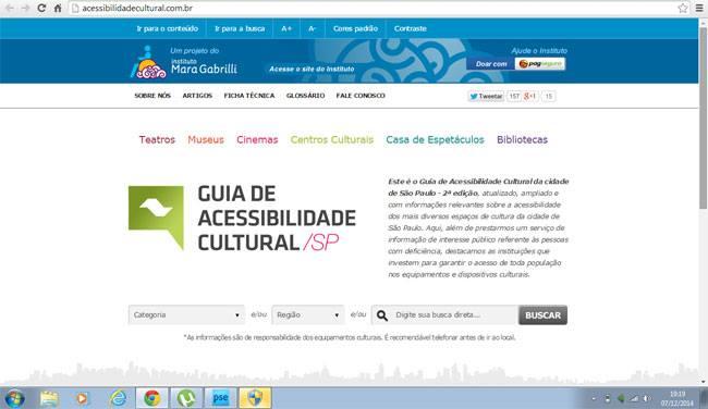 Página inicial do guia cultural de acessibilidade