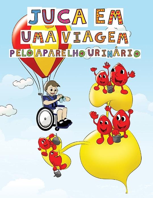 Na imagem, a capa da cartilha, com um garoto  (Juca) voando em sua cadeira de rodas e observando a bexiga